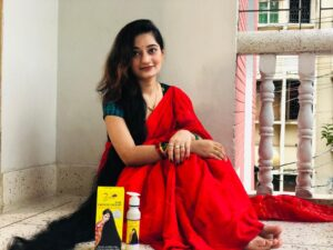 Zafran Hair Growth Oil with girl