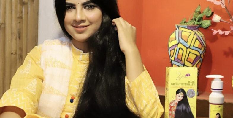 model girl with zafran hair oil